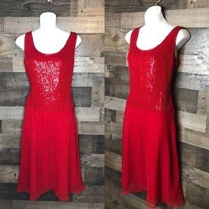 Newport News Red Sequin Sleeveless Dress